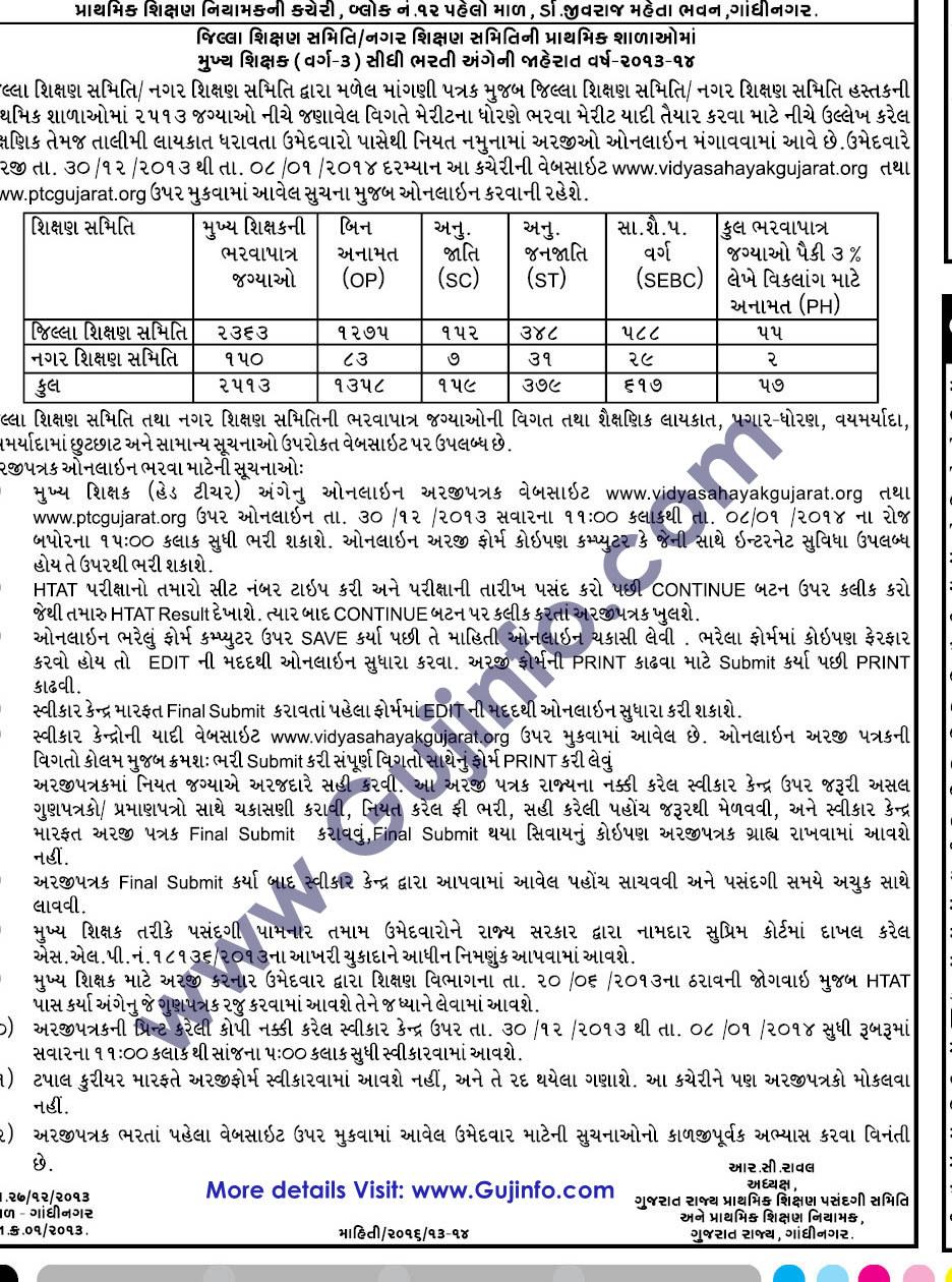 HTAT Bharti Notificaton Online Apply 2013-14 - www.vidhyasahayakgujarat.org