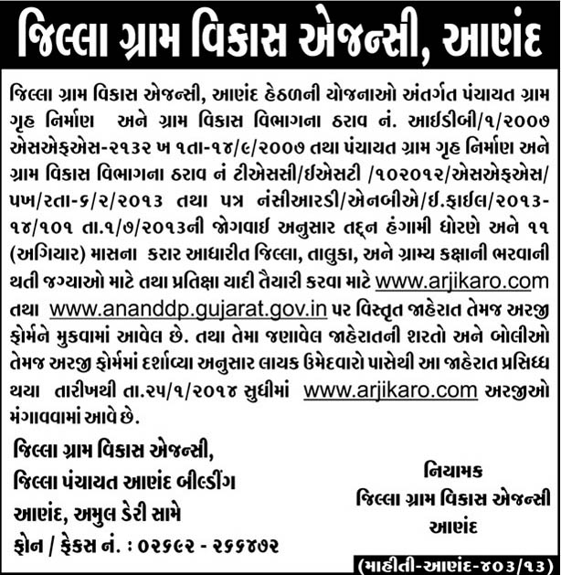 DRDA Anand Recruitment 2014 DRDA Anand Recruitment 2014   www.arjikaro.com